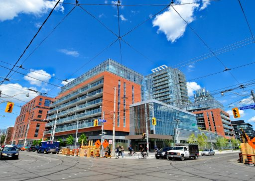 The intersection of Parliament St and Dundas St in 2010. The Regent Park neighbourhood is being revitalized with a mixture of condominiums, market-rate rental apartments and public housing.